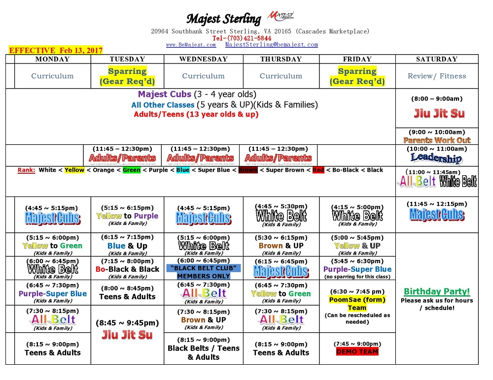 Majest Martial Arts Sterling Virginia Class Schedule