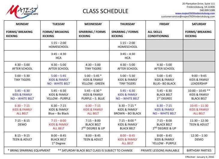 Majest Fredericksburg VA Class Schedule